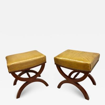 Andr Arbus French Modern Neoclassical Mahogany Leather Benches Stools Andre Arbus Pair