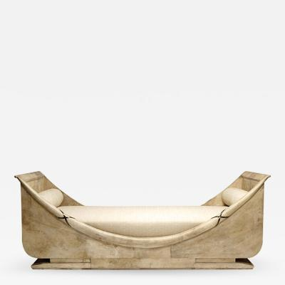 Andr Arbus Iconic Retour lordre Bateau Daybed Veneered in Parchment by Andr Arbus
