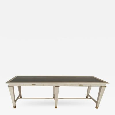 Andr Arbus Large Oak Table by Andre Arbus with Stone Top Bronze Details France c 1940