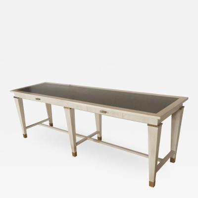 Andr Arbus Large table by Andre Arbus in Cerused Oak w Stone Top and Bronze Details