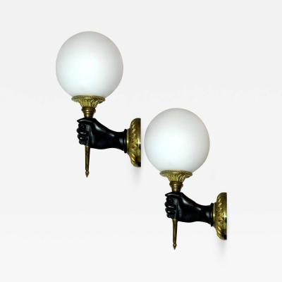 Andr Arbus Pair of Bronze French Sconces by Andre Arbus