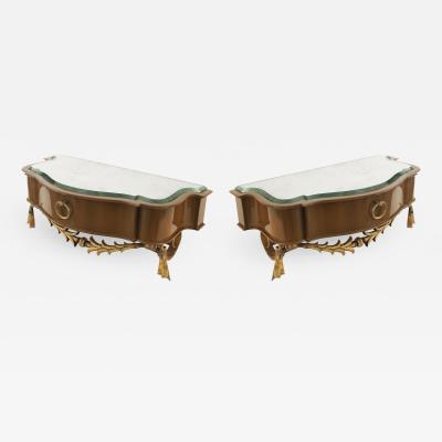 Andr Arbus Pair of French Mid Century Lacquered Diminutive Single Drawer Bracket Consoles