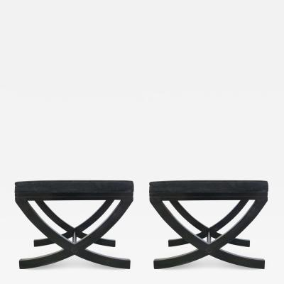 Andr Arbus Pair of French Modern Neoclassical Ebonized Wood Benches Stools Andr Arbus
