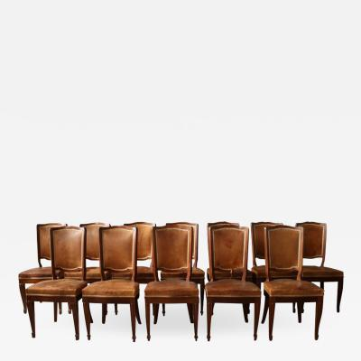 Andr Arbus Set of 12 Fine French Art Deco Mahogany Chairs in the Manner of Arbus