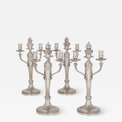 Andr Aucoc Set of four Louis XVI style silver candelabra by Andr Aucoc