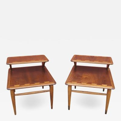 Andr Bus Pair of Walnut and Oak Acclaim Collection End Tables by Andre Bus for Lane