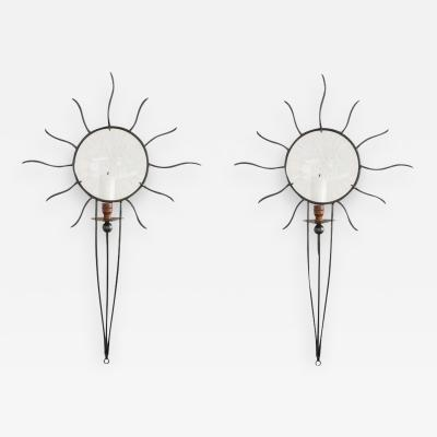 Andr Dubreuil Soleil Edition Wrought Iron Sconces by Andr Dubreuil