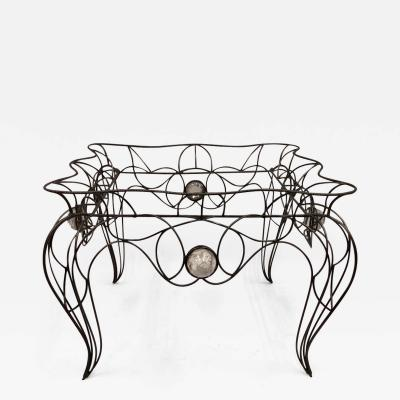 Andr Dubreuil Unique Centre Table Console in Wrought Iron and Glass by Andre Dubreuil 1986