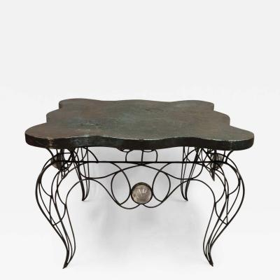 Andr Dubreuil Unique Handwrought Iron Crystal Center or Dining Table by Andre Dubreuil 1986
