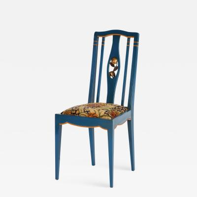 Andr Groult A Blue and Orange Lacquered and Gilt Wood Side Chair