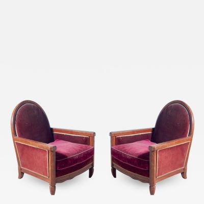 Andr Groult Andre Groult Pair of Club Chairs