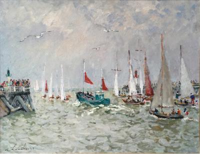 Andr Hambourg Le bateau de peche vert aux voiles rouge