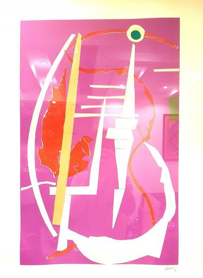 Andr Lanskoy Andr Lanskoy Abstract Pink Composition Original Lithograph 1960s