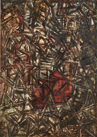 Andr Lapiere Abstract Black and Red Oil on Board Painting Entitled Composition