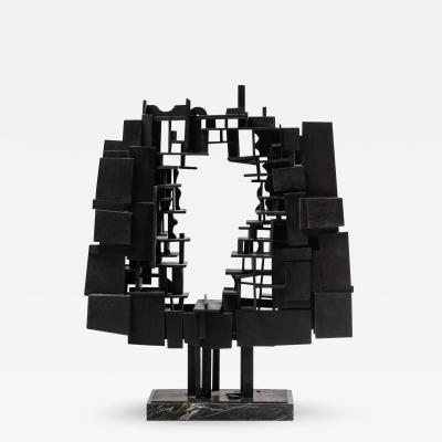 Andr Pailler Andr Pailler Abstract Sculpture In Black Wood On Marble France Early 1970s