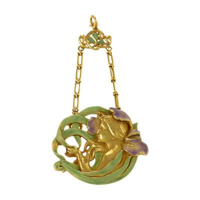 Andr Rambour Andr Rambour Art Nouveau Gold and Enamel Pendant