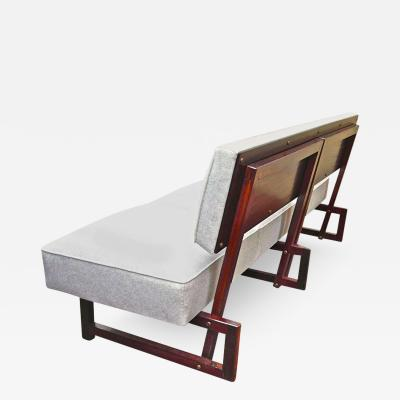 Andr Sornay Andr Sornay Rarest Modernist Three Seat Couch Newly Covered in Kvadrat Material