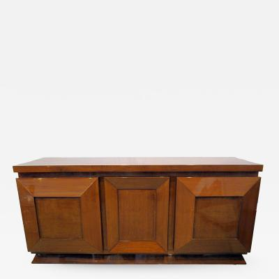 Andr Sornay French Late Art Deco Walnut Three Door Credenza or Buffet
