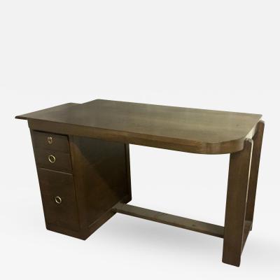 Andr Sornay Style of Andre Sornay Modernist Oak Desk with a Side Shelf