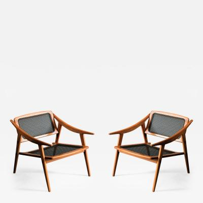 Andre Baudoin Cane and Oak Pair of Lounge Chairs