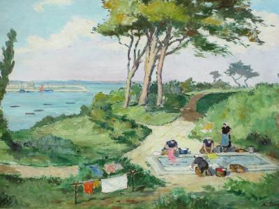 Andre DEMOLY Les Lavandieres a Plomarch