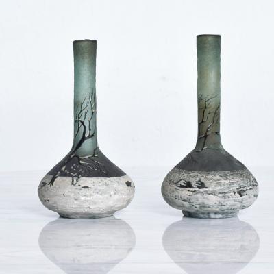 Andre Delatte Fine French Art Glass Cameo Bud Vase Pair by Andre Delatte 1920s Nancy France