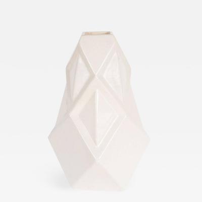 Andre Fau Art Deco Cubist Style Crackle Cr me Ceramic Vase by Andre Fau