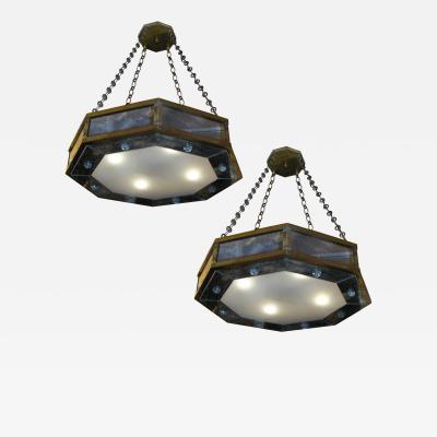 Andre Hayat Andr Hayat pair of octagone chandelier in bronze and eglomis mirror