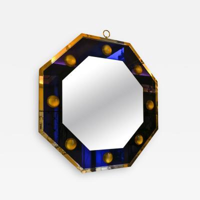 Andre Hayat Andre Hayat Octagonal Mercury Blue Mirror with Gold Bronze Frame