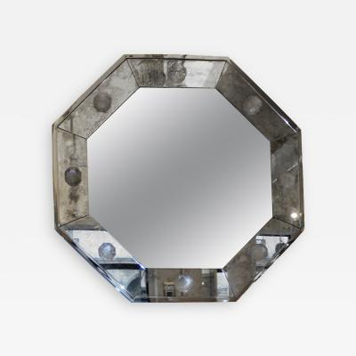 Andre Hayat Andre Hayat Octagonal Oxydized Mirror Frame with a Silver Frame