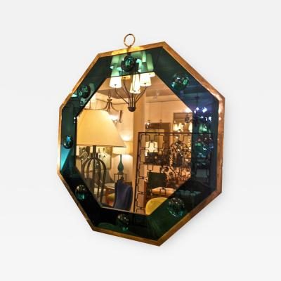 Andre Hayat Andre Hayat Octagonal Silvered Frame Mirror with Deep Blue Insert
