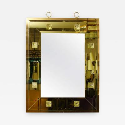 Andre Hayat Andre Hayat Pale Yellow Rectangular Mirror with Pyramid Rock Crystal