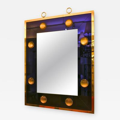 Andre Hayat Andre Hayat Rectangular Mercury Blue Mirror with Gold Bronze Frame