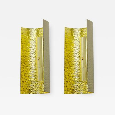 Andre Hayat Andre Hayat pair of gold accent bombed glass pair of sconces