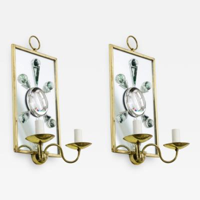 Andre Hayat Andre Hayat pair of rock mirrored crystal and gold bronze pair of sconces