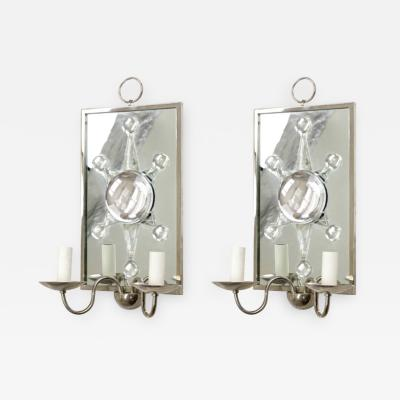 Andre Hayat Andre Hayat rock cristal siver framed pair of mirror sconces