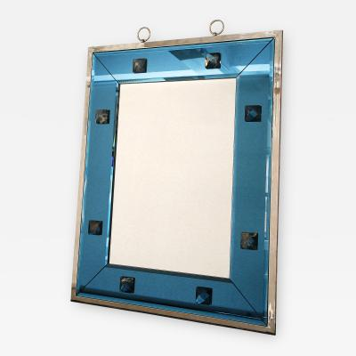 Andre Hayat Blue Glass Mirror with Rock Crystal by Andre Hayat