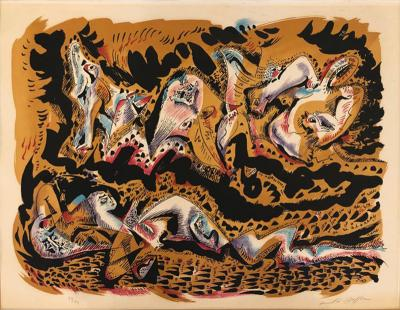 Andre Masson Le Sommeil The Sleep Mid Century Modern Abstract Lithograph Signed Andre Masson