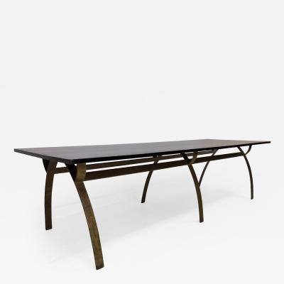 Andre Renou Jean Pierre Genisset Renou et G nisset Custom Gilt Wrought Iron and Redwood Dining Table