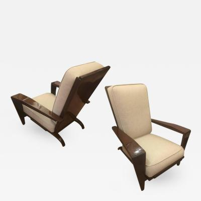 Andre Sornay Andre Sornay Comfortable Pair of Lounge Chair Newly Restored in Neutral Cloth