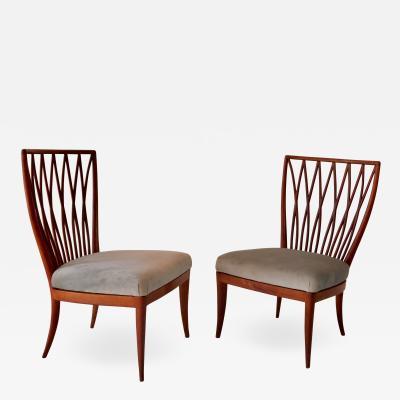 Andrea Busiri Vici Pair of Andrea Busiri Vici Cherrywood Lounge Chairs 1940