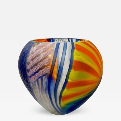 Andrea Zilio Andrea Zilio Italian Blue Yellow Orange White Murano Glass Round Vase