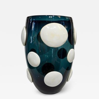 Andrea Zilio Andrea Zilio Monumental Avio Blue Murano Glass Modern Vase with White Polka Dots