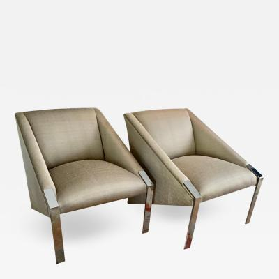 Andree Putman Pair of Chrome Lounge Side Chairs by Andree Putman