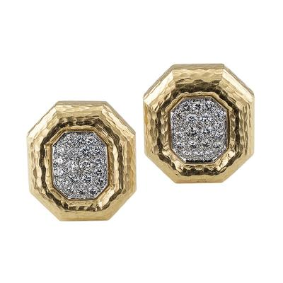 Andrew Clunn Andrew Clunn Octagonal Diamond Gold Earrings