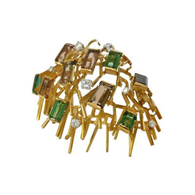 Andrew Grima 1970s Andrew Grima Modernist Tourmaline Diamond Gold Brooch