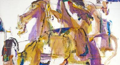 Andrew Lui Duology gestural horse and rider in mauve and gold by Andrew Lui