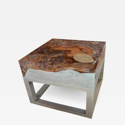 Andrianna Shamaris Cracked Resin Side Table Coffee Table