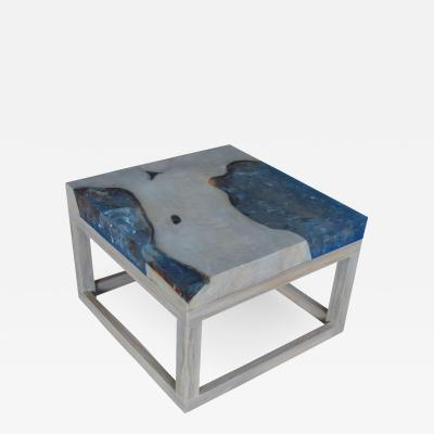 Andrianna Shamaris ICE BLUE RESIN SIDE TABLE COFFEE TABLE