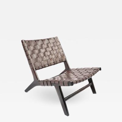Andrianna Shamaris Modern Chair Series Low Leather Woven Chair